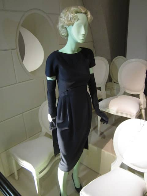 Valentino 1959 navy blue wool cocktail dress at the exhibition
