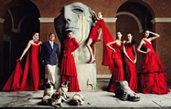 Valentino with models in 2007