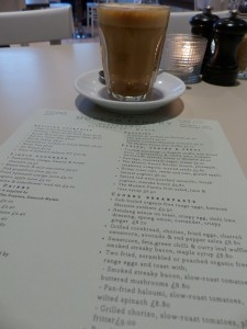 Caffe Latte with menu at the Modern Pantry