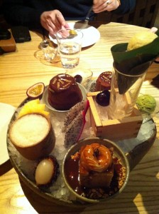 Dessert selection at Zuma London