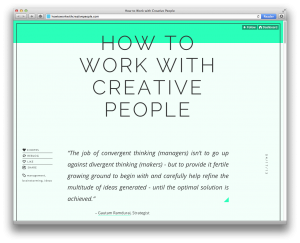 web page of How to Work with Creative People